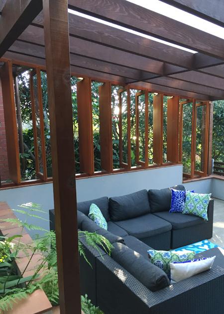 Courtyard Alteration - cedar louvres open