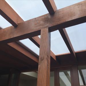 Courtyard Alteration - cedar structure detail
